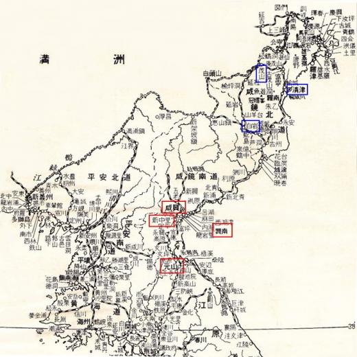 北朝鮮地図10咸興新中里