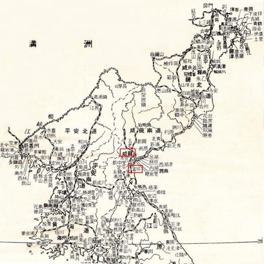 北朝鮮地図2咸興富坪