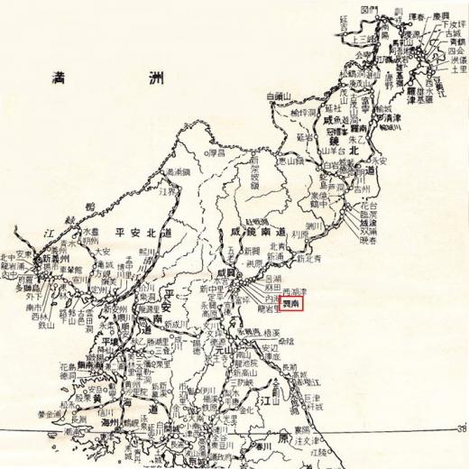 北朝鮮地図3興南